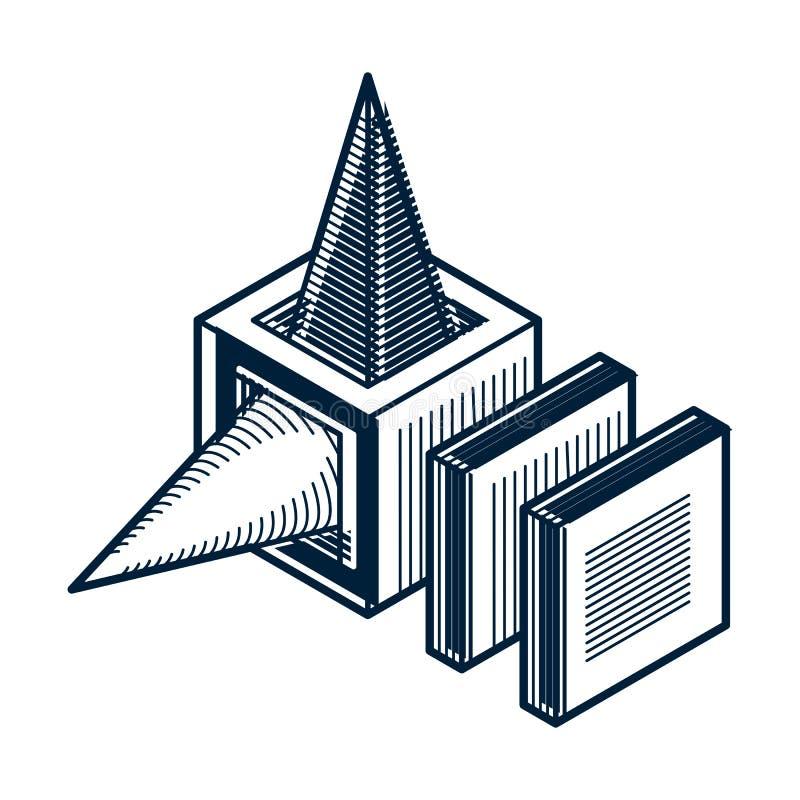 抽象三维形状,传染媒介设计立方体元素 皇族释放例证