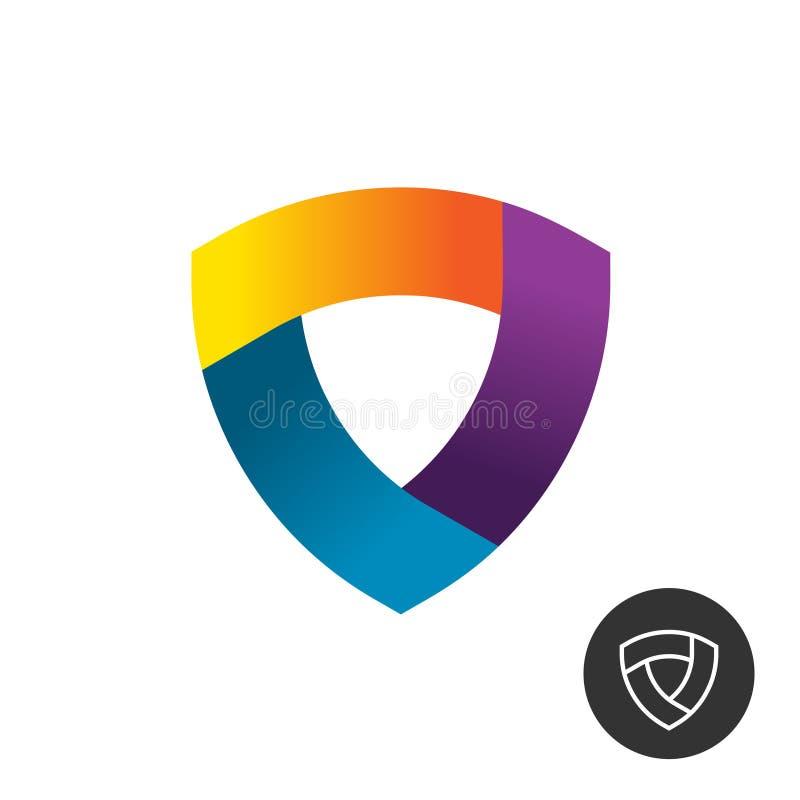 抽象三角五颜六色的丝带盾商标 皇族释放例证