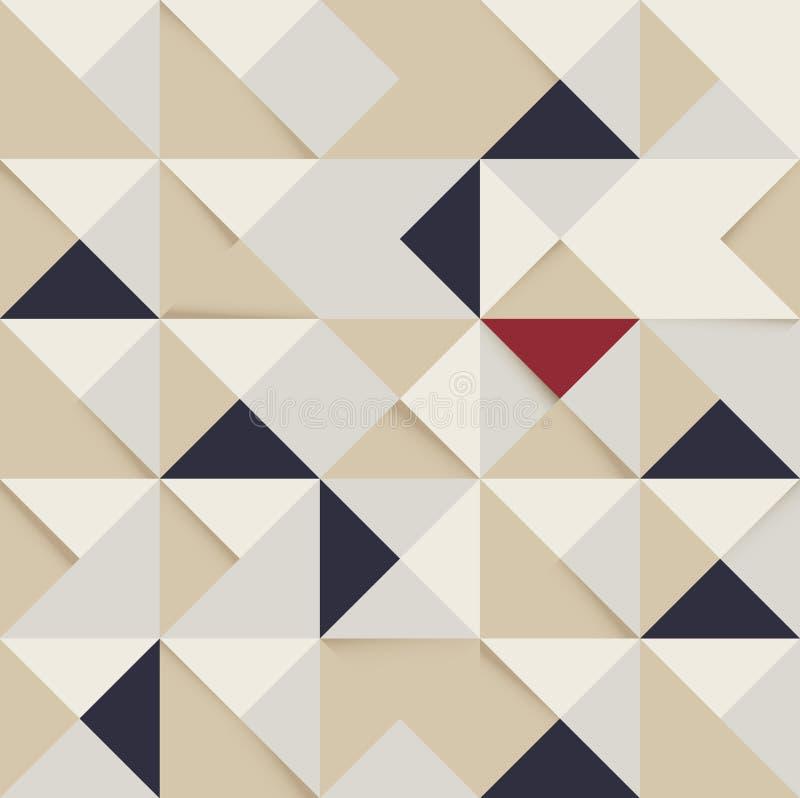 抽象三角和正方形样式减速火箭的背景 库存例证