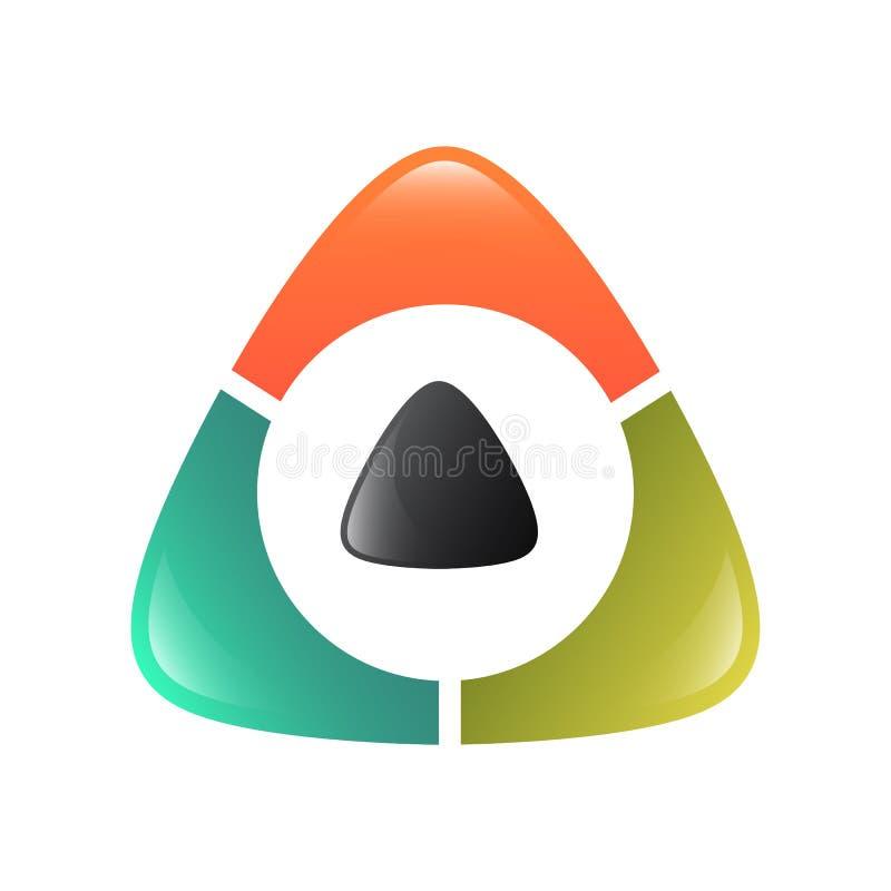 抽象三角商标,创造性的媒介演奏商标,传染媒介商标co 向量例证