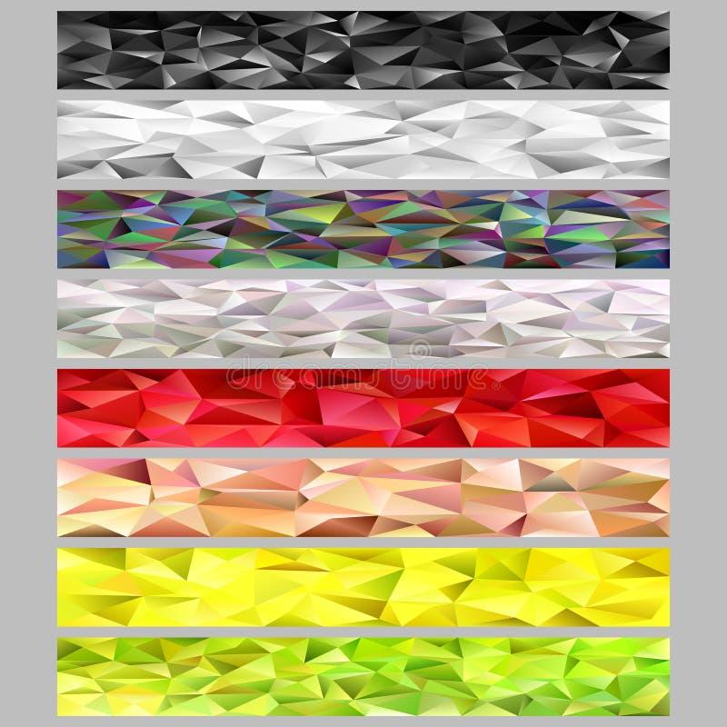 抽象三角多角形样式马赛克网横幅模板背景设置了-设计从不规则的三角的元素 皇族释放例证