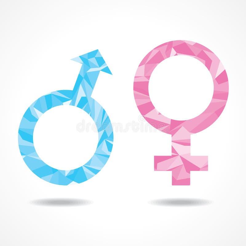抽象三角男性和女性标志 向量例证
