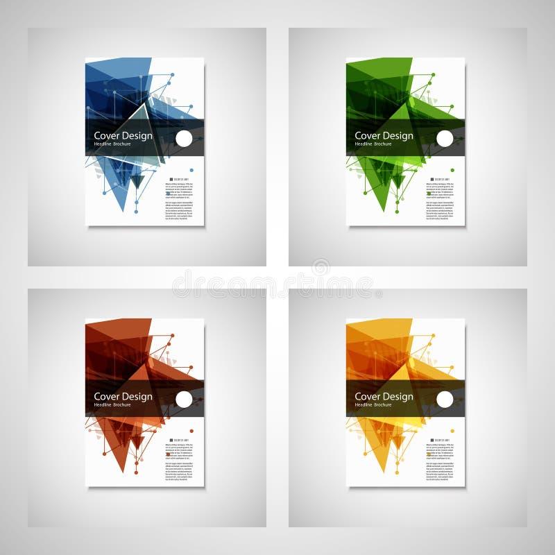 抽象三角线 海报小册子飞行物设计版面在A4大小的传染媒介模板 向量例证