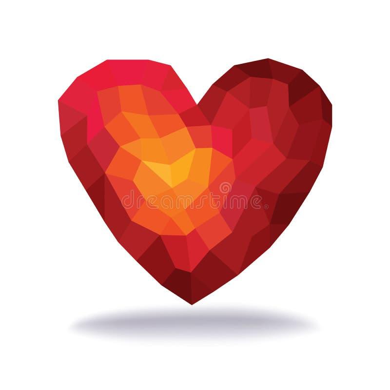 抽象三角-多角形红色心脏在白色背景中 皇族释放例证
