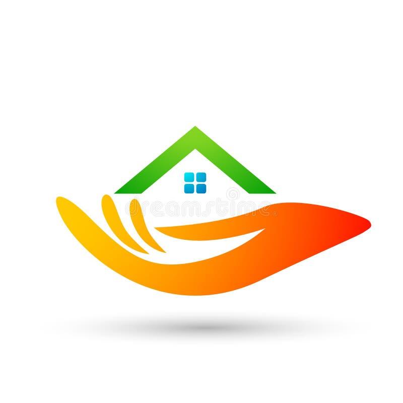 抽象不动产议院屋顶和家庭手关心商标传染媒介元素象设计传染媒介在白色背景 向量例证