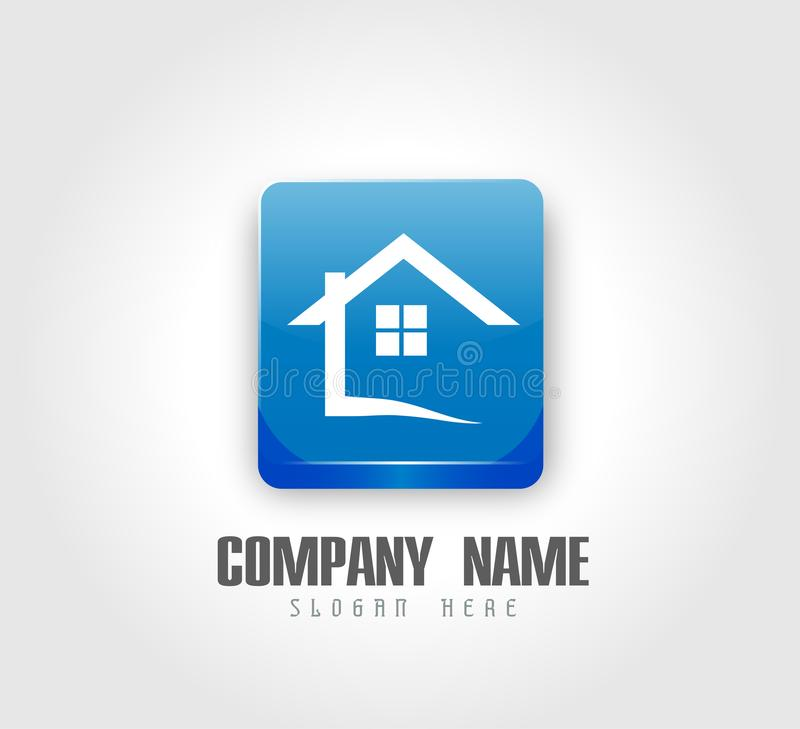 抽象不动产议院屋顶商标3d亮光正方形按钮和家庭商标传染媒介元素象设计 向量例证