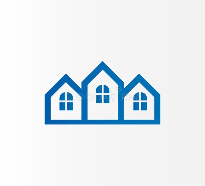 抽象不动产,大厦,商标设计 传染媒介您的公司的建筑商标-传染媒介 向量例证