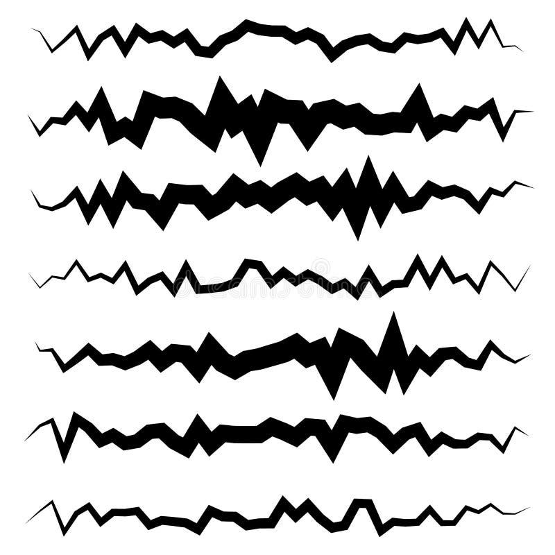 抽象不规则的线集合 不同波浪,之字形分切器,锂 皇族释放例证