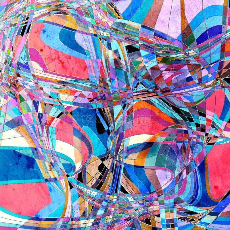 抽象与不同五颜六色的水彩明亮的背景 库存例证