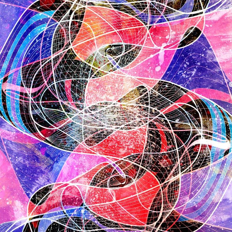 抽象与不同五颜六色的水彩明亮的背景 皇族释放例证