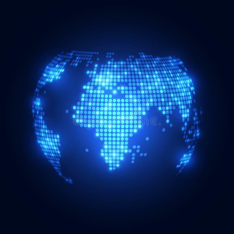 抽象与世界地图的技术数字式背景 向量例证