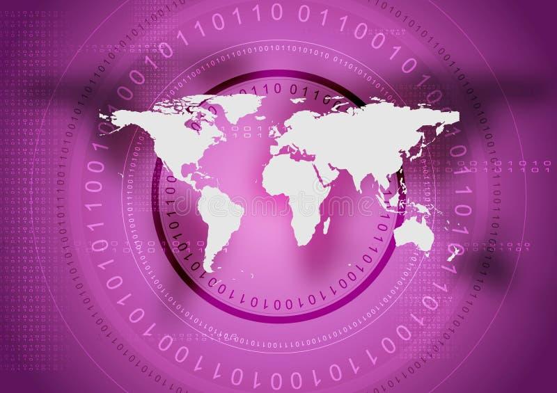 抽象与世界地图的技术紫罗兰色背景 库存例证