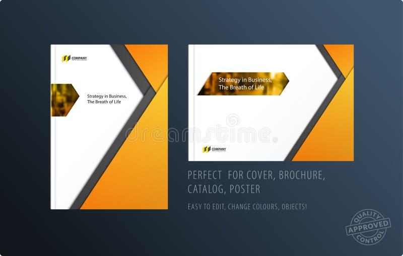 抽象与五颜六色的层数的二重页小册子物质设计样式烙记的 企业传染媒介介绍 皇族释放例证