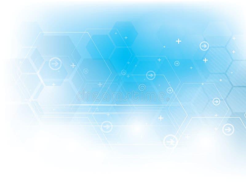 抽象与六角形的传染媒介技术蓝色背景 向量例证