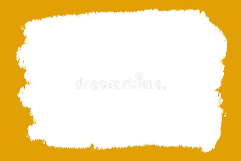 抽象与接合的边缘的背景框架橙色茶黄宽广的刷子小条油漆树胶水彩画颜料白色中部 向量例证
