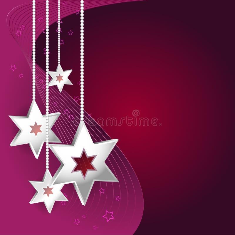抽象与星的传染媒介紫色圣诞节背景 皇族释放例证