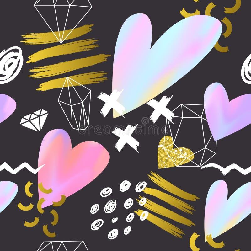 抽象与桃红色和金黄心脏的孟菲斯样式无缝的样式 贺卡的愉快的情人节背景 库存例证