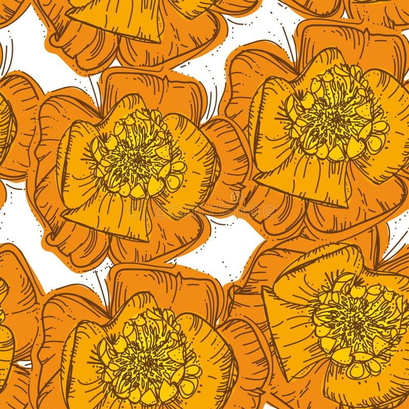 抽象与棕色骗局的高雅无缝的样式橙色花 向量例证