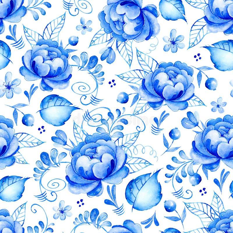 抽象与民间艺术的水彩花卉无缝的样式开花 蓝色白色装饰品 与青白的花,叶子, c的背景 库存例证