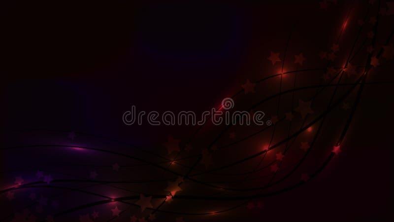 抽象与波浪线和星号的空间黑暗的背景 在色的天空背景的黑暗的星 皇族释放例证