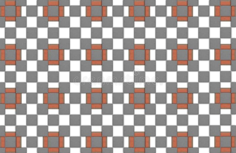 抽象与灰色的背景明亮的红砖正方形细胞摆正几何样式 皇族释放例证