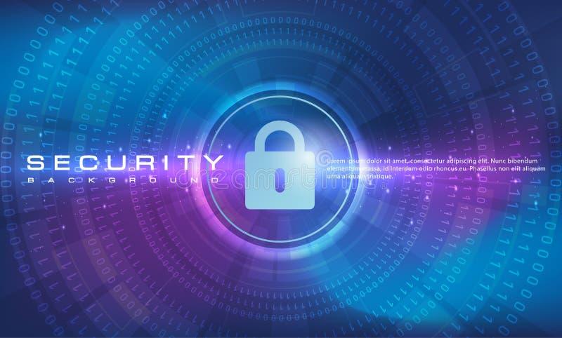 抽象与线和二进制编码作用技术,蓝色背景的安全技术横幅蓝色紫色背景概念 皇族释放例证