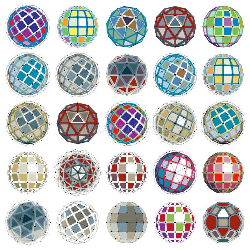 抽象与线的传染媒介低多对象的汇集和 向量例证