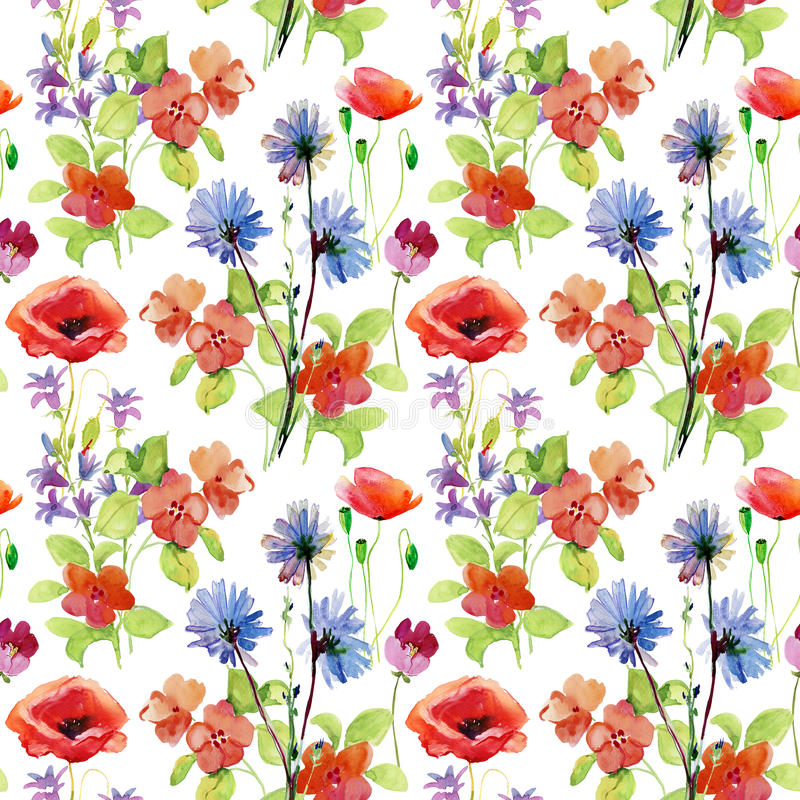 抽象与花的水彩手画背景 向量例证