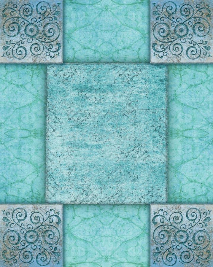 抽象与蓝色花饰的难看的东西蓝色背景 库存例证