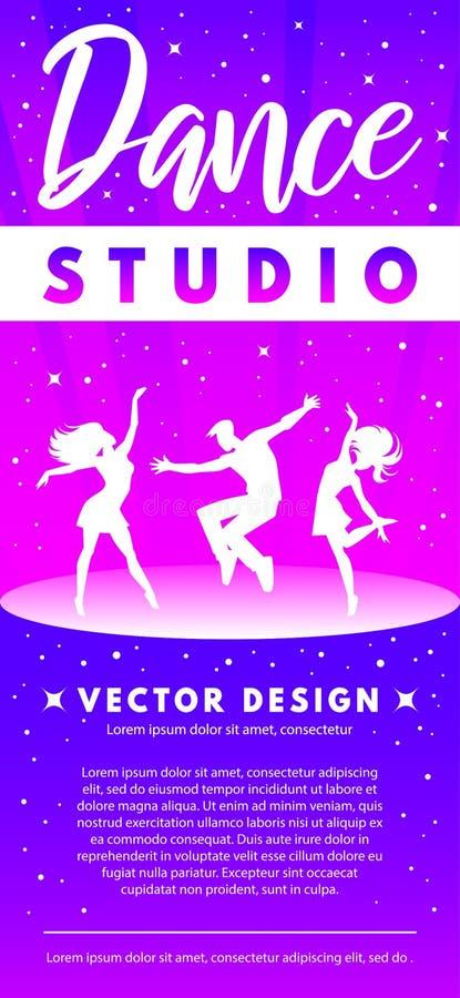 抽象与跳舞年轻人的舞蹈演播室明亮的梯度模板 免版税库存图片