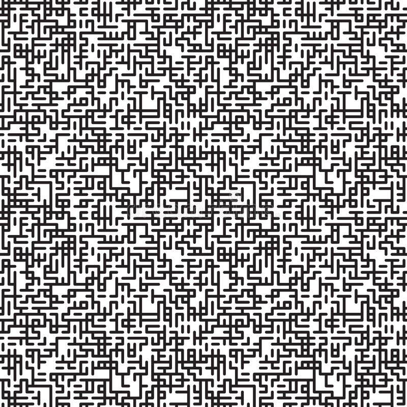 抽象与迷宫纹理的传染媒介无缝的样式 向量例证