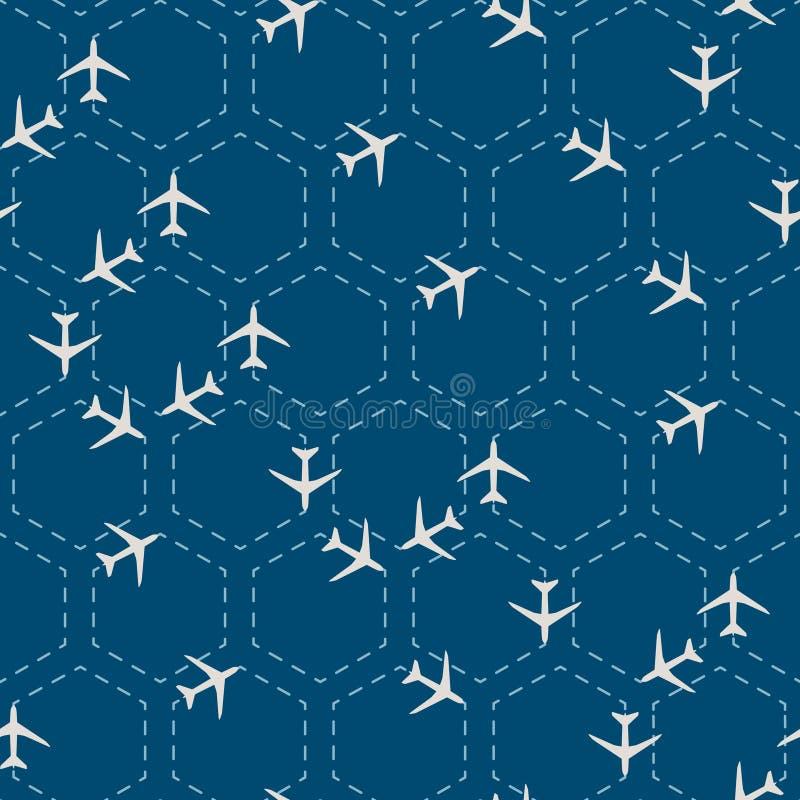 抽象与飞机的六角形无缝的样式 皇族释放例证