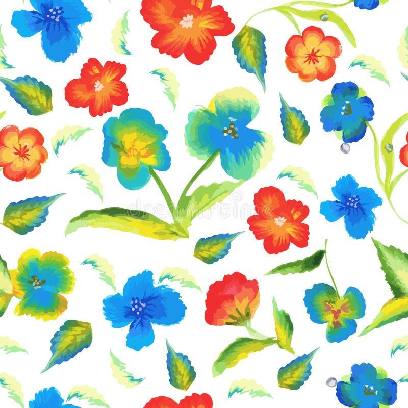 抽象与水彩花卉背景传染媒介的高雅春天无缝的样式 库存例证