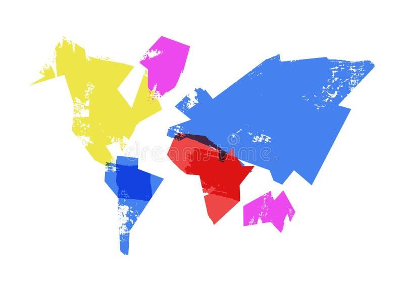 抽象世界地图手拉的概念例证 库存例证