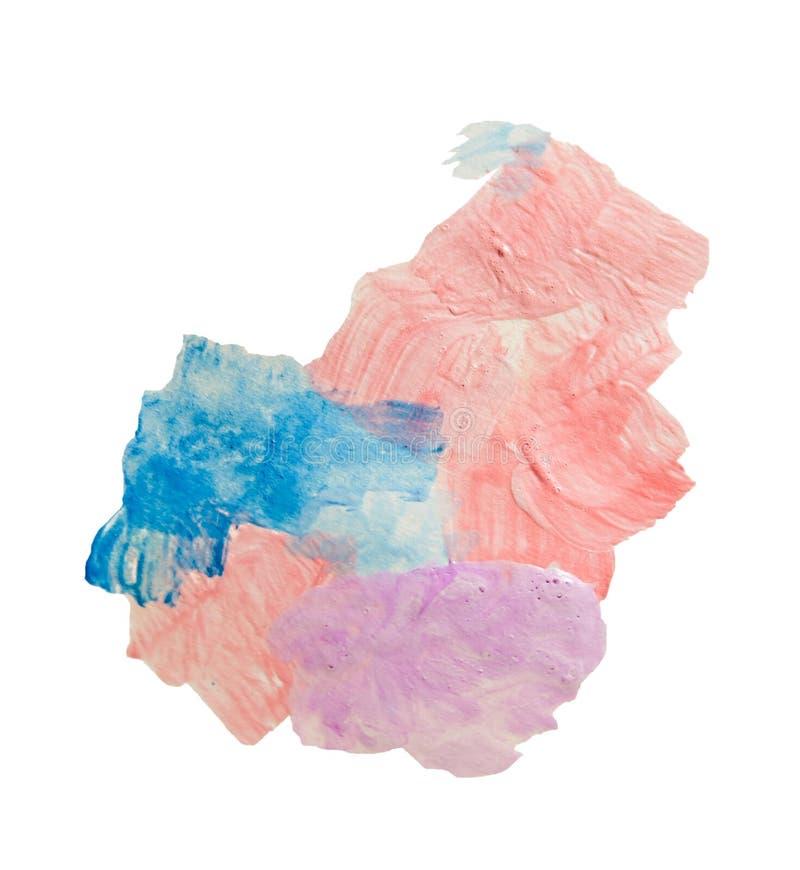 抽象丙烯酸漆污点纹理和水彩飞溅 递在白色隔绝的画的五颜六色的丙烯酸酯的泼溅物 皇族释放例证
