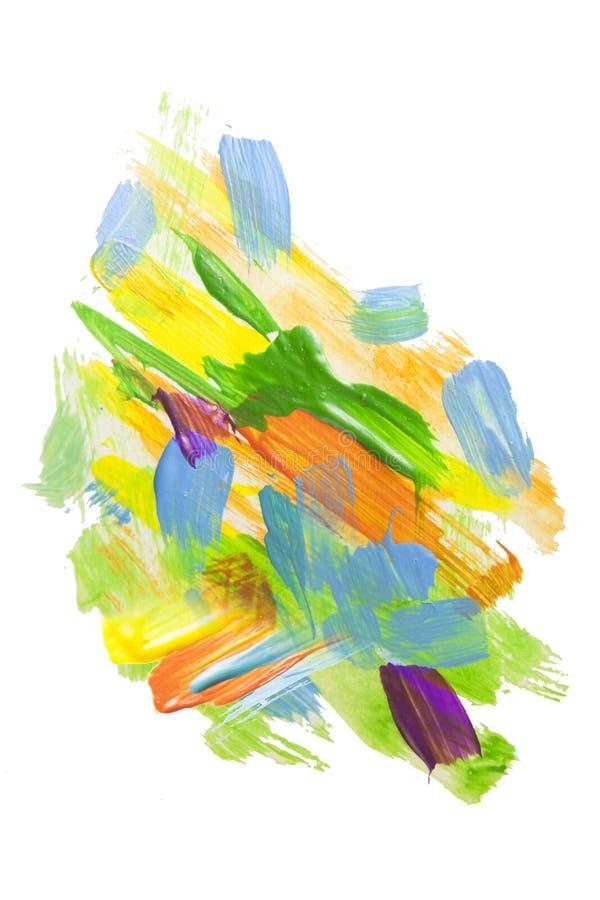 抽象丙烯酸漆污点纹理和水彩飞溅 递在白色隔绝的画的五颜六色的丙烯酸酯的泼溅物 库存例证