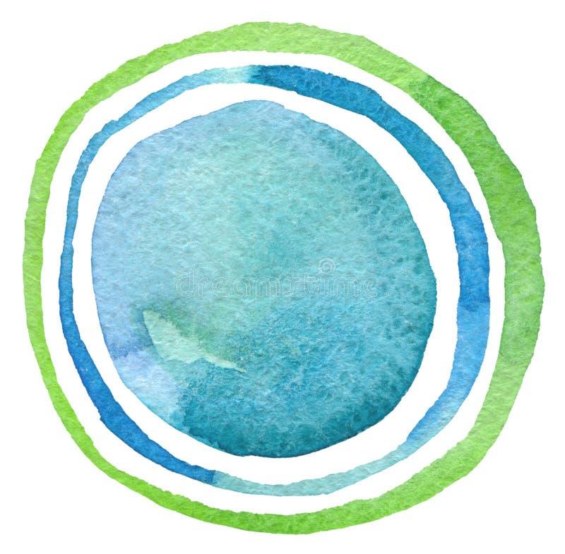 抽象丙烯酸酯和水彩圈子被绘的背景 皇族释放例证