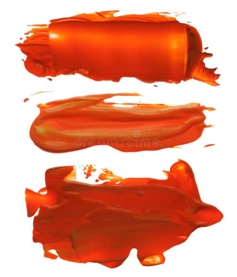 抽象丙烯酸酯的刷子冲程污点的汇集 库存照片