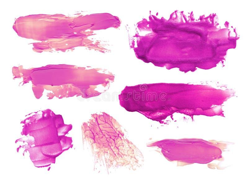 抽象丙烯酸酯的刷子冲程污点的汇集 图库摄影
