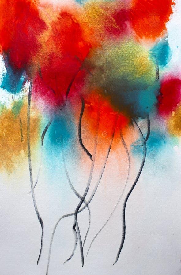 抽象丙烯酸酯的在白色气球的野花花卉绘画 皇族释放例证