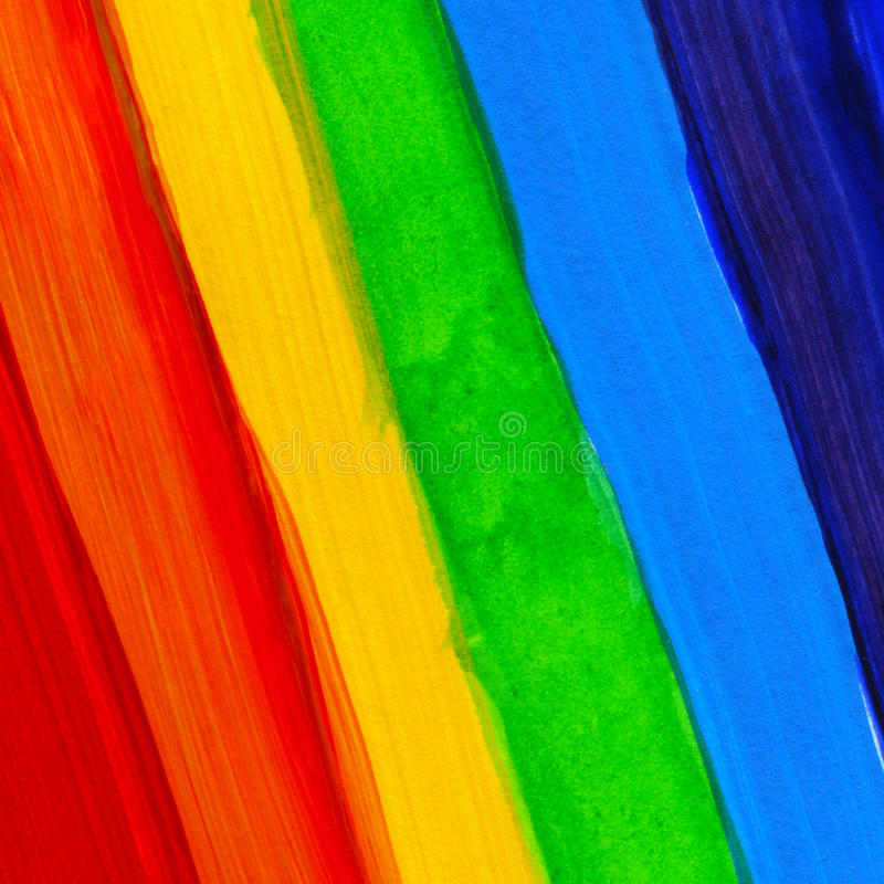 抽象丙烯酸酯的手画背景 水彩彩虹旗子 lgbt、和平和自豪感的标志 皇族释放例证