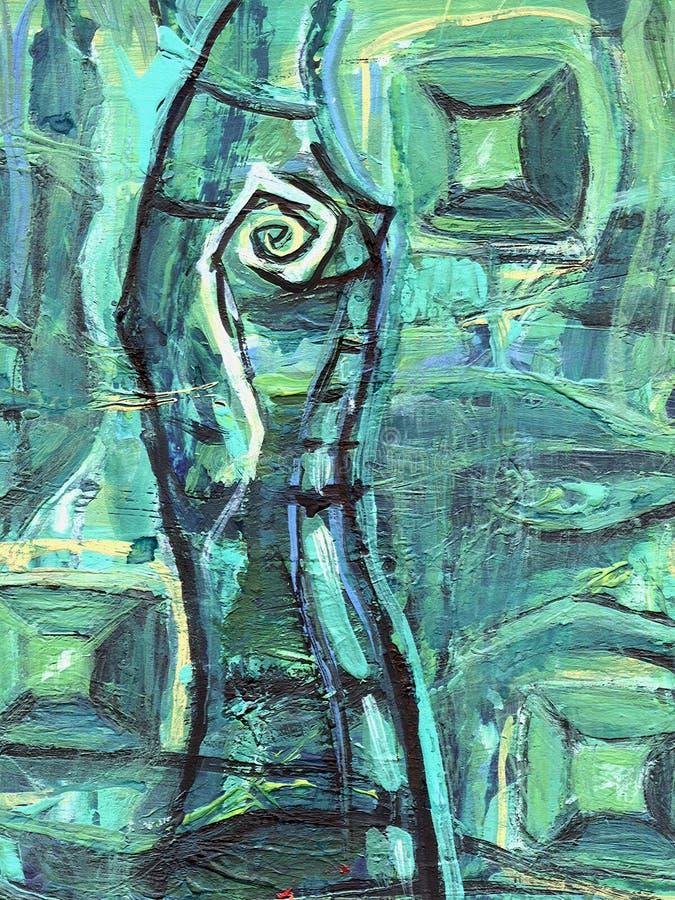 抽象丙烯酸酯的绘画 与宝石的鲜绿色洞 与神秘的眼睛的石笋 皇族释放例证