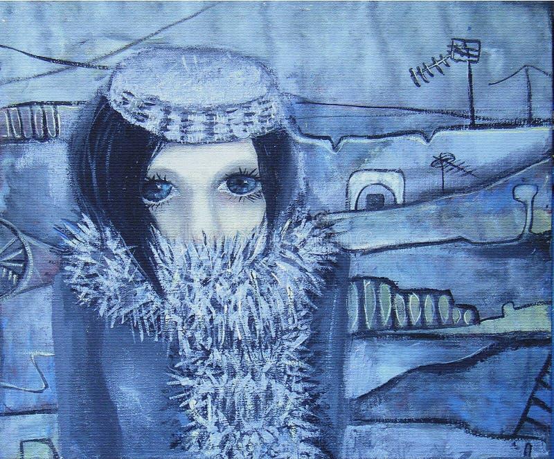 抽象丙烯酸酯的绘画 结构的女孩 向量例证