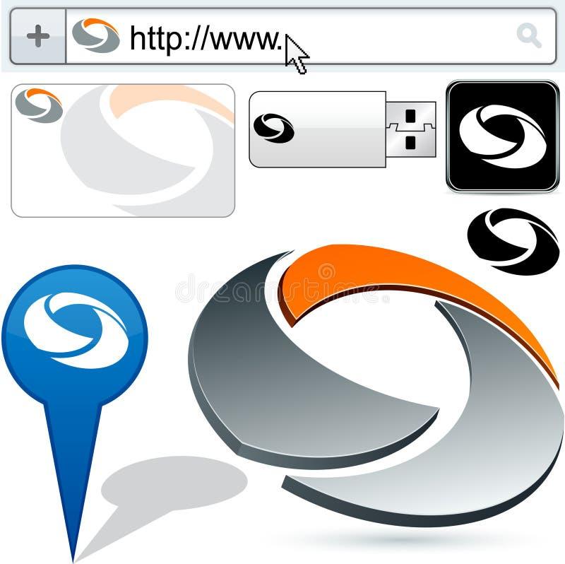 抽象业务设计徽标转动 库存例证