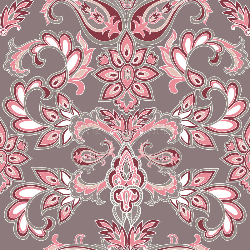 抽象东方花卉无缝的样式 花几何orna 库存例证