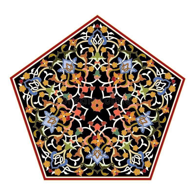 抽象东方马赛克装饰五颜六色的世界装饰图表 库存例证