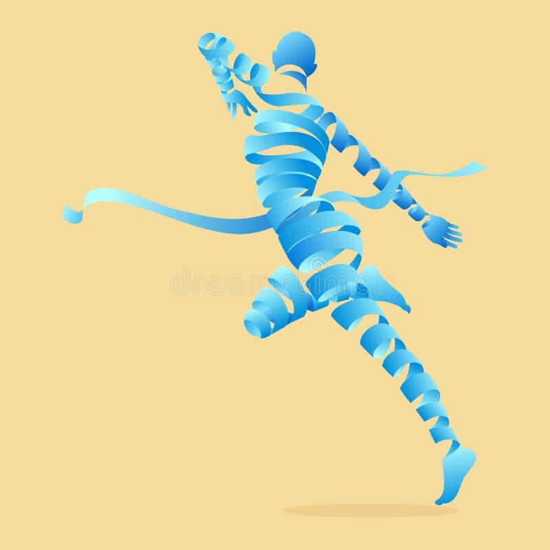 抽象丝带塑造与有氧运动舞蹈减肥。 向量例证
