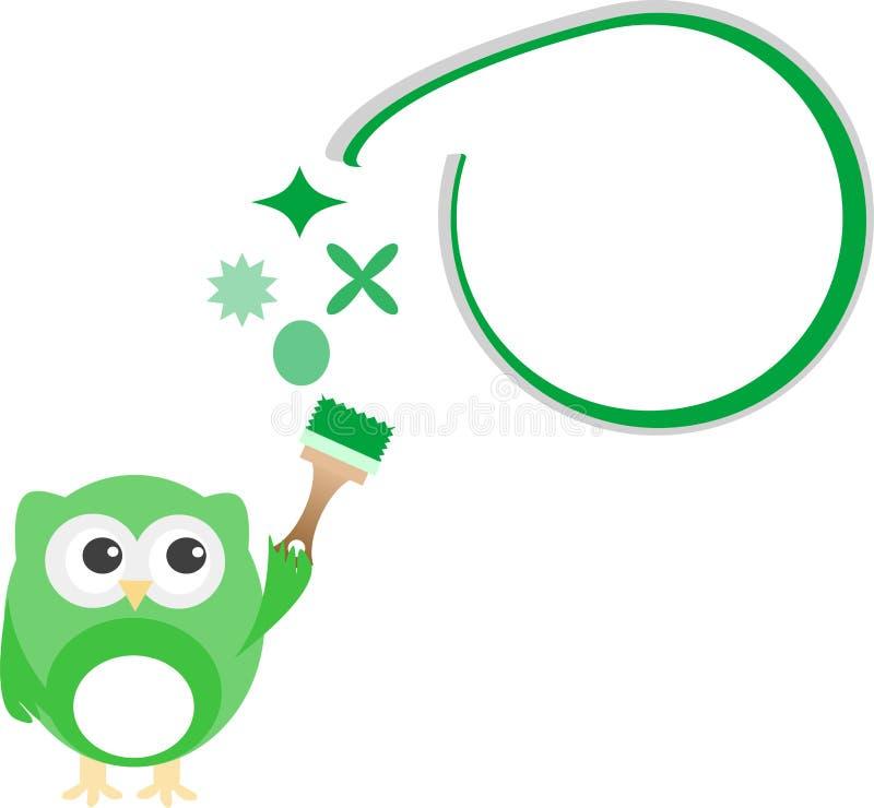 抽象云彩绿色猫头鹰绘画符号 库存例证