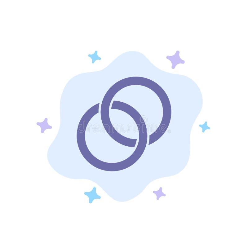 抽象云背景上的戒指、婚礼、情侣、订婚蓝色图标 向量例证