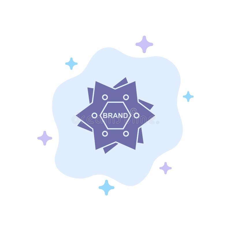 抽象云背景上的星形、品牌、品牌、徽标、形状蓝色图标 皇族释放例证